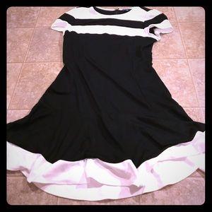 Peter Son black & white skater dress